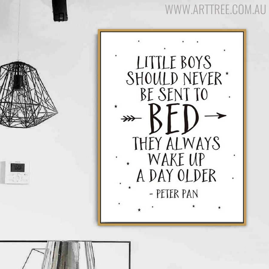 Little Boys Quotes Inspirational Scandinavian Nordic Painting Canvas Print for Living Room Decoration