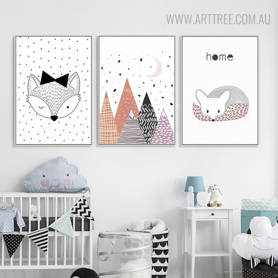 Cute Fox Animated Modern Animal Quotes Painting Canvas Print for Kids Room Decor