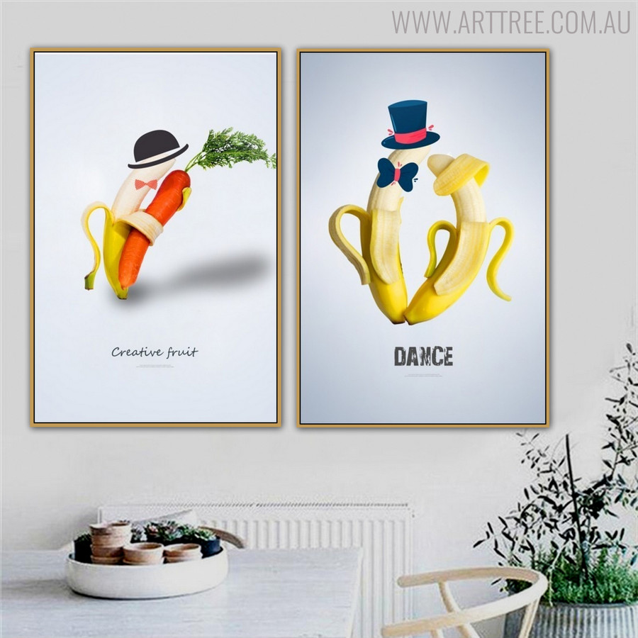 Dancer Fruits Creative Abstract Painting Canvas Print for Dining Room Decor