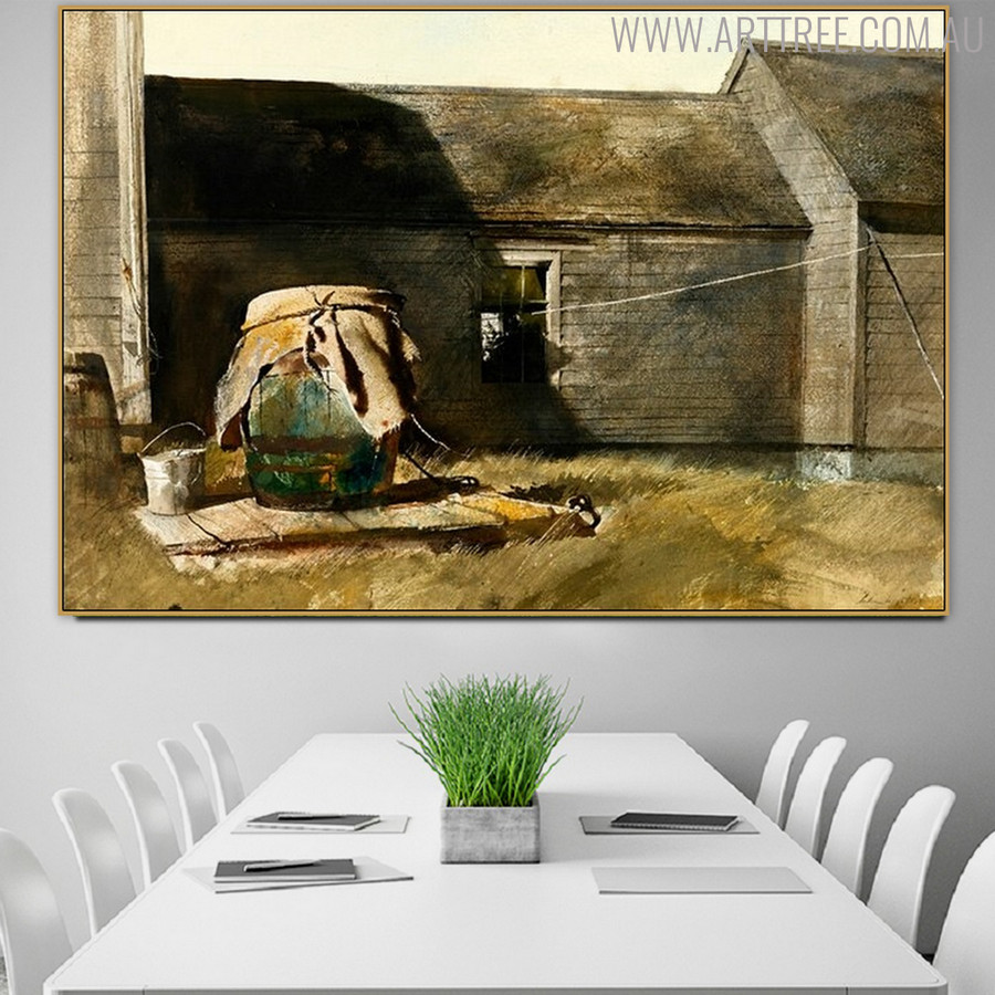 Dry Well (Rain Barrel) Famous Artists Still Life Painting Canvas Print for Dining Room Wall Disposition