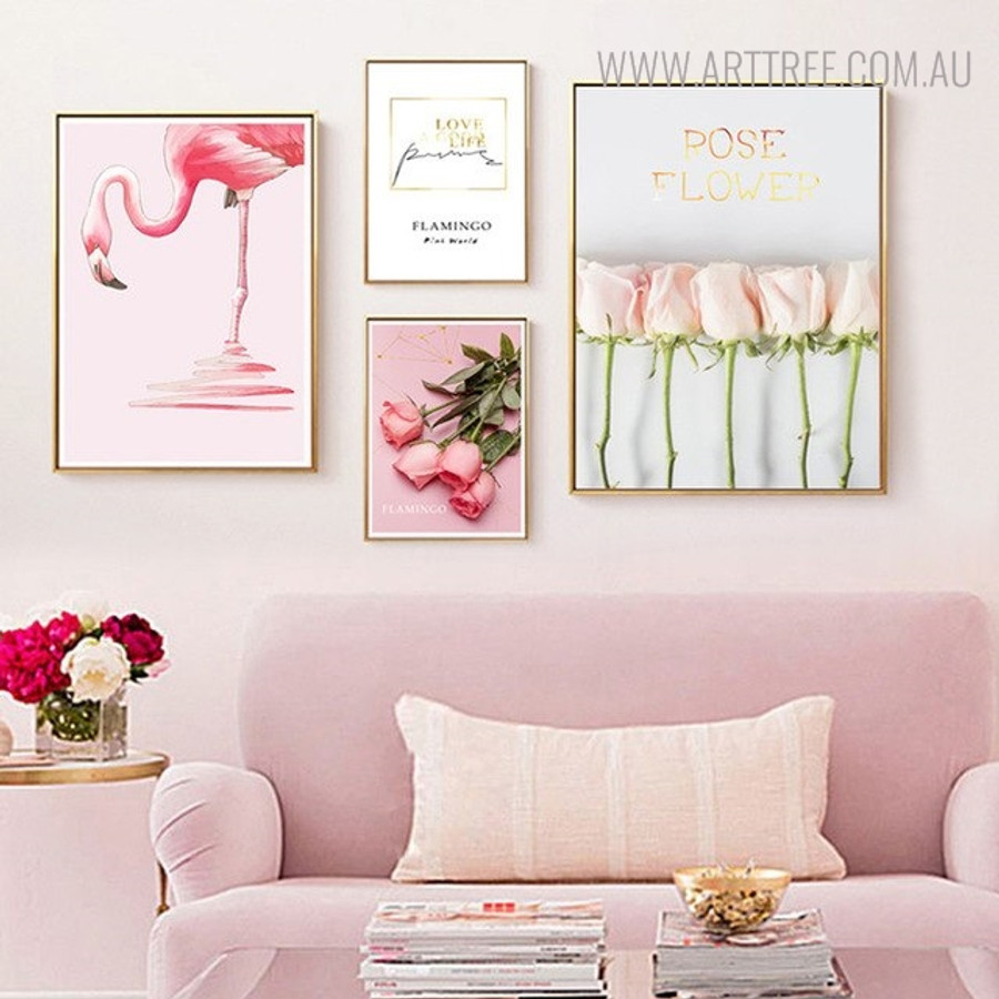 Good Life Quotes Floral Bird Modern Painting Canvas Print for Room Wall Decor