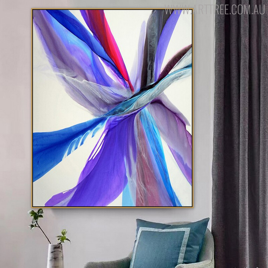 Blue Abstract Modern Painting Print for Living Room Wall Outfit