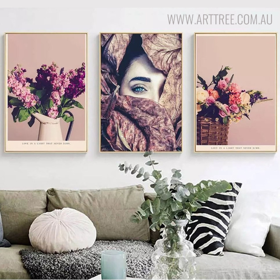 Beautiful Face Floral Modern Figure Picture Canvas Print for Living Room Wall Decor