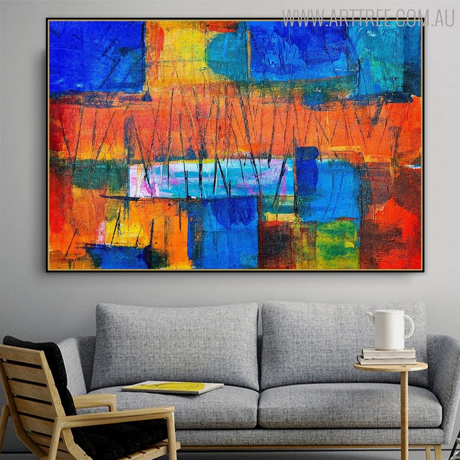 Abstract Lines Acrylic Painting for Lounge Room Wall Assortment