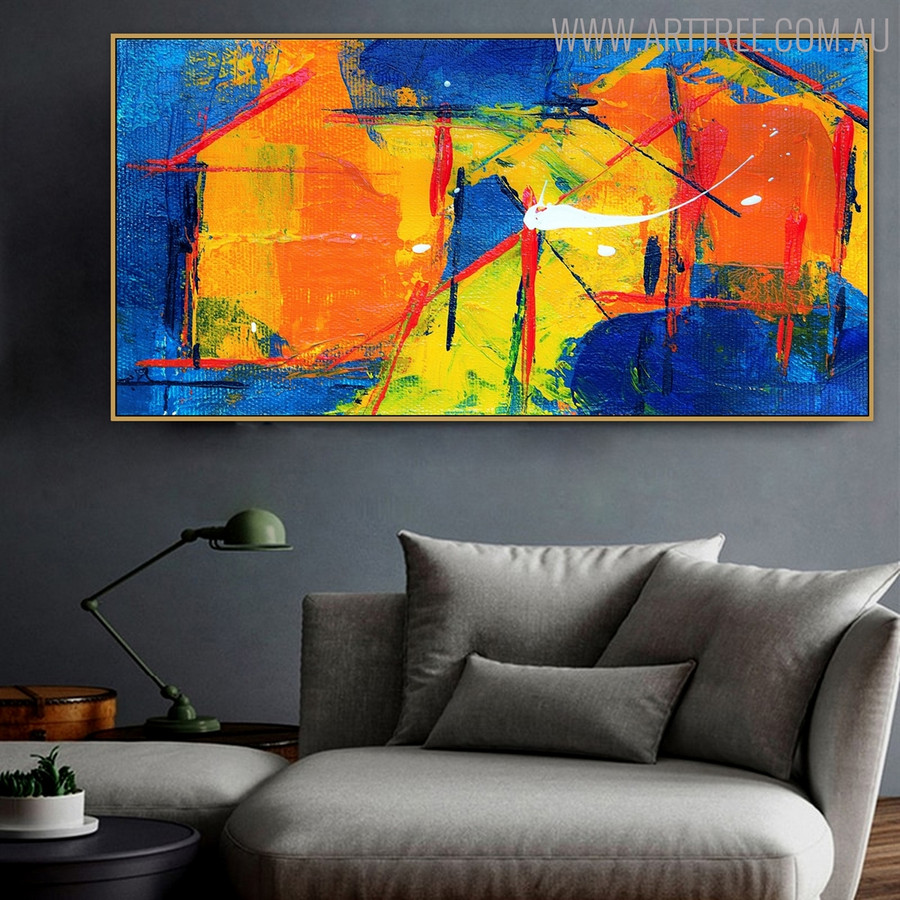Abstract Rule Framed Texture Acrylic Painting for Home Wall Ornament