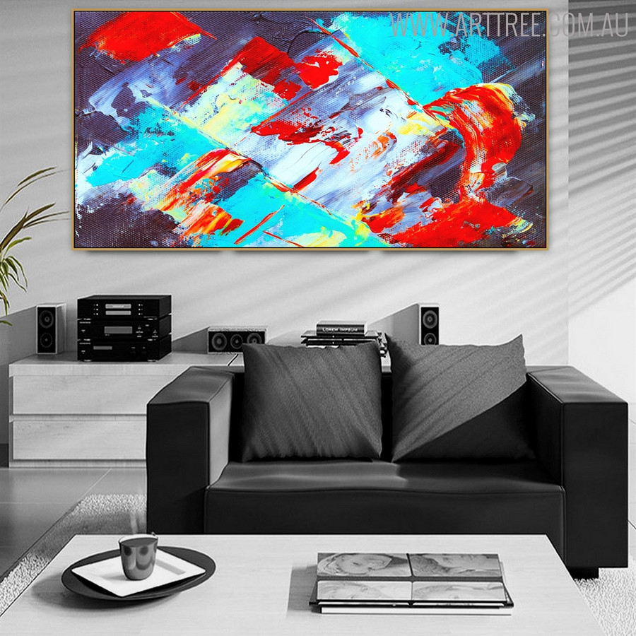 Red Cyan Abstract Modern Framed Texture Canvas Draught for Interior Wall Disposition