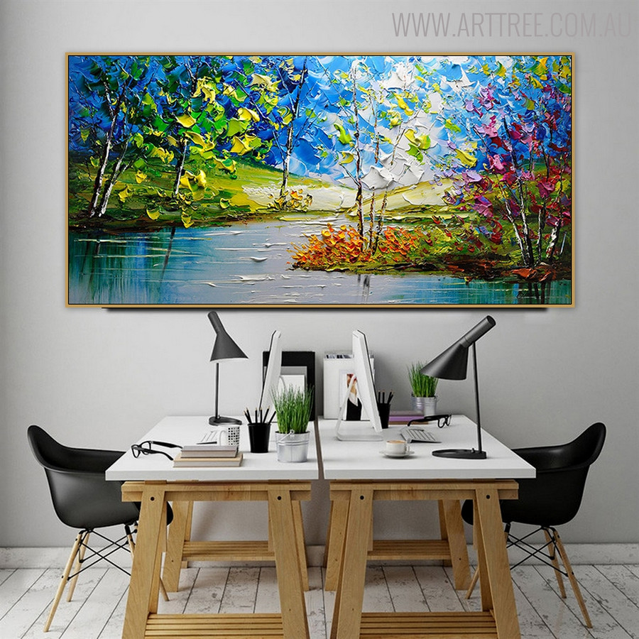 Green Nature Landscape Textured Knife Handmade Oil Painting for Dining Room Wall Finery