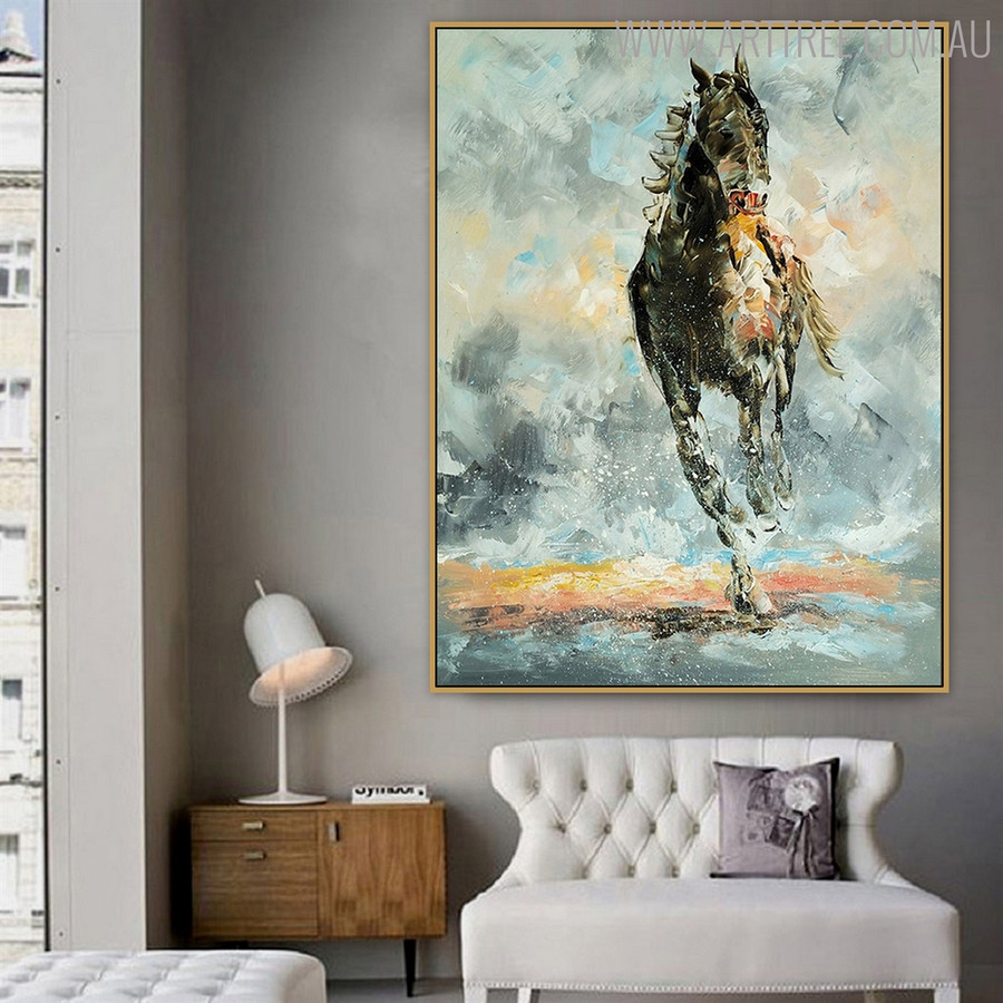 Wild Running Horse Animal Hand Painted Modern Texture Knife Oil Smudge for Lounge Room Wall Decor