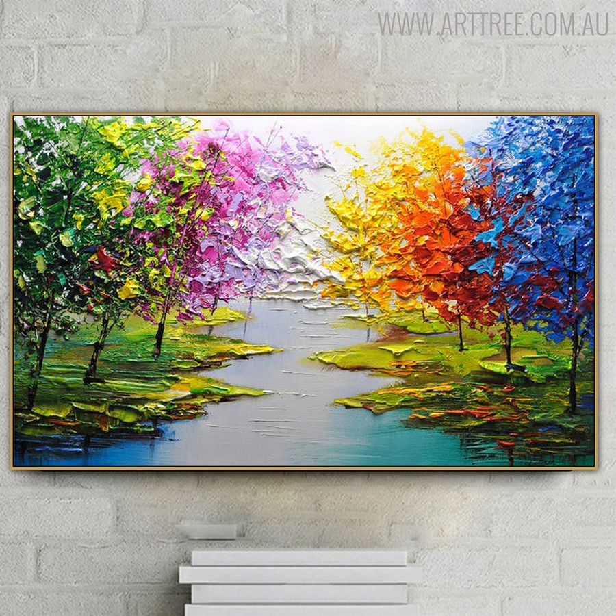 Riverscape Nature Heavy Texture Knife Artwork for Room Wall Onlay