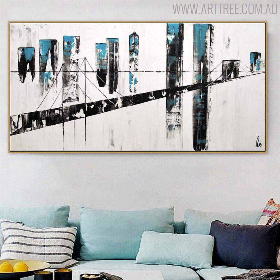 Bridge Abstract Modern Cityscape Texture Oil Vignette for Lounge Room Wall Flourish