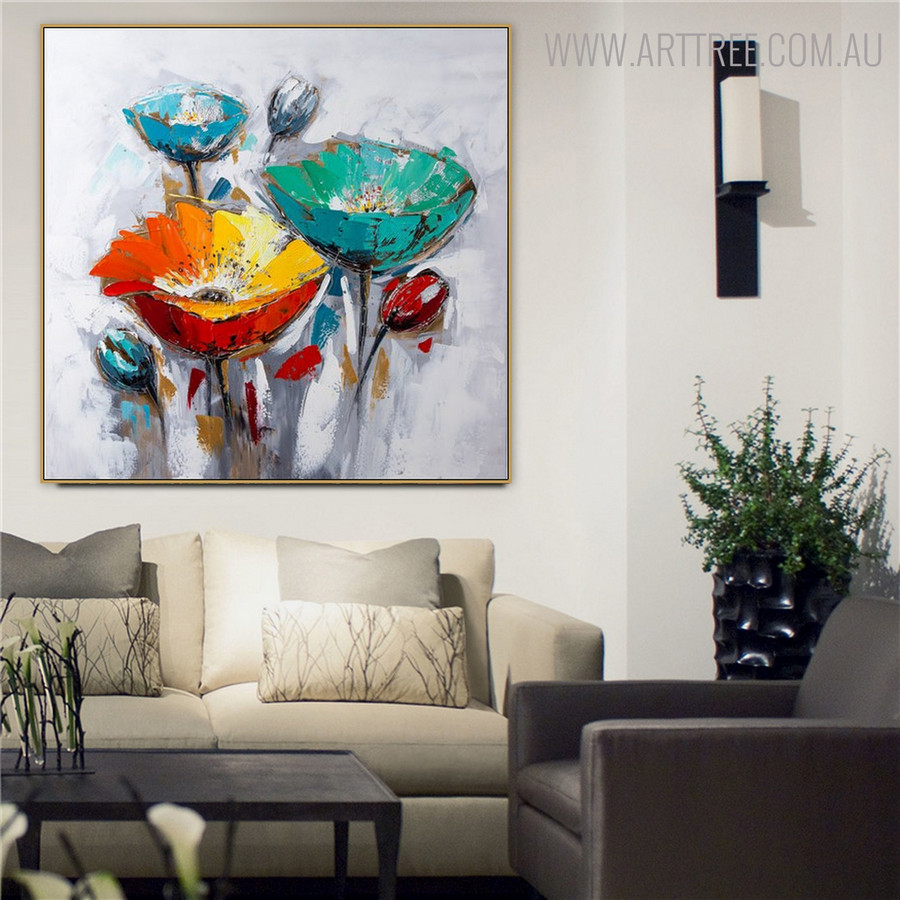 Poppies Floral Modern Handmade Oil Smudge on Canvas for Home Wall Finery