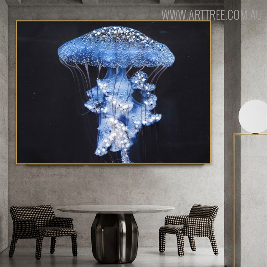 Glowing Jellyfish Animal Modern Seascape Bold Texture Canvas Vignette for Room Wall Getup