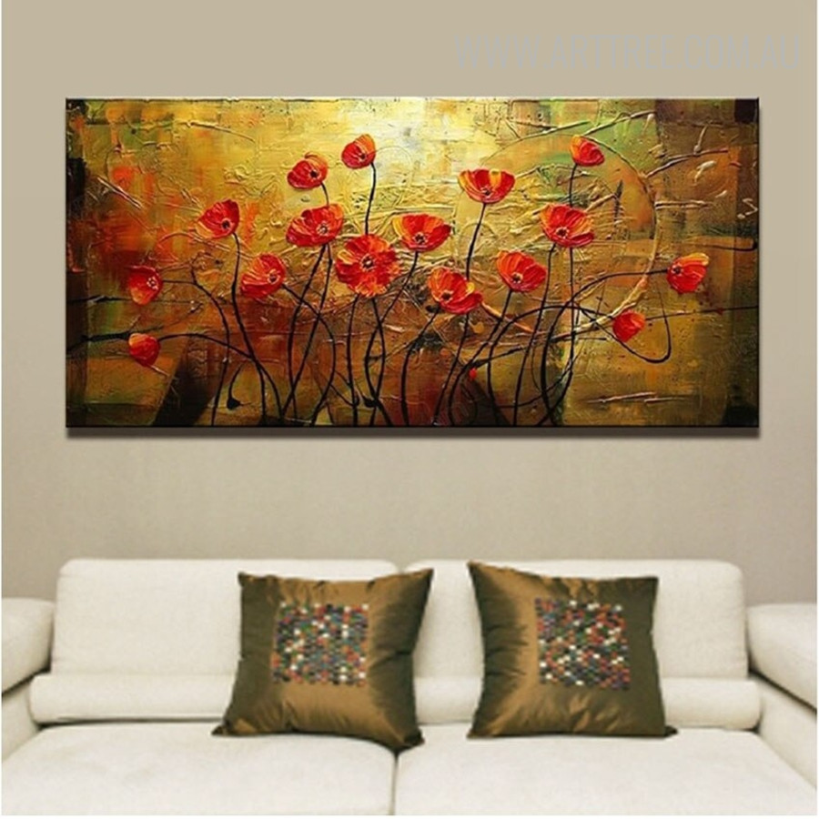 Red Poppies Floral Abstract Bold Texture Acrylic Painting for Home Wall Decor