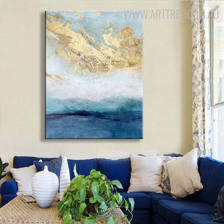 Golden Clouds Abstract Heavy Texture Handmade Oil Painting for Home Wall Adornment
