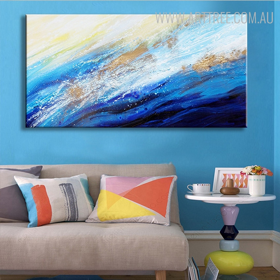 Blue Sea Abstract Modern Seascape Texture Handpainted Canvas for Room Wall Tracery
