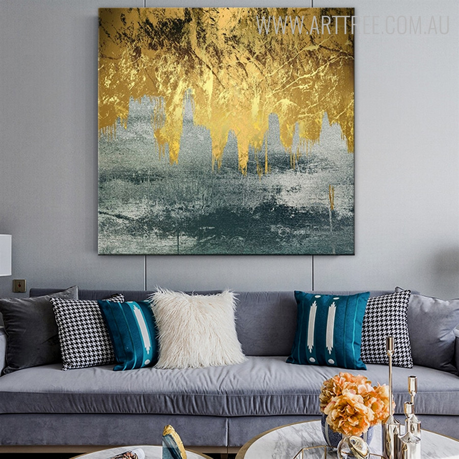 Black Gold Abstract Modern Handmade Oil Resemblance for Wall Moulding