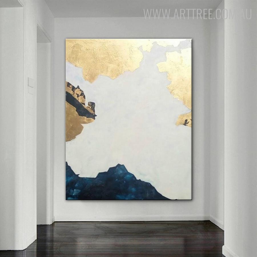 Blue Hills Abstract Modern Heavy Texture Handmade Canvas Artwork for Diy Wall Decor