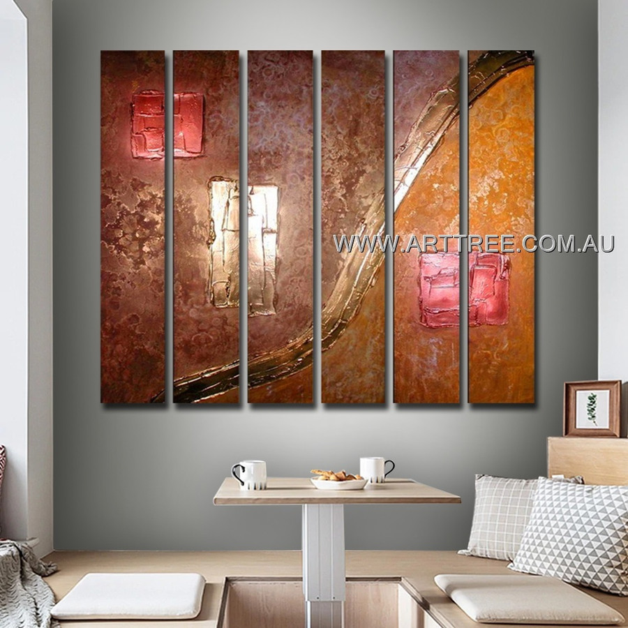 Pink Rectangle Oil Painting 6 Panel Abstract Handmade Artist Split Oil Paintings Wall Art Set For Room Ornament