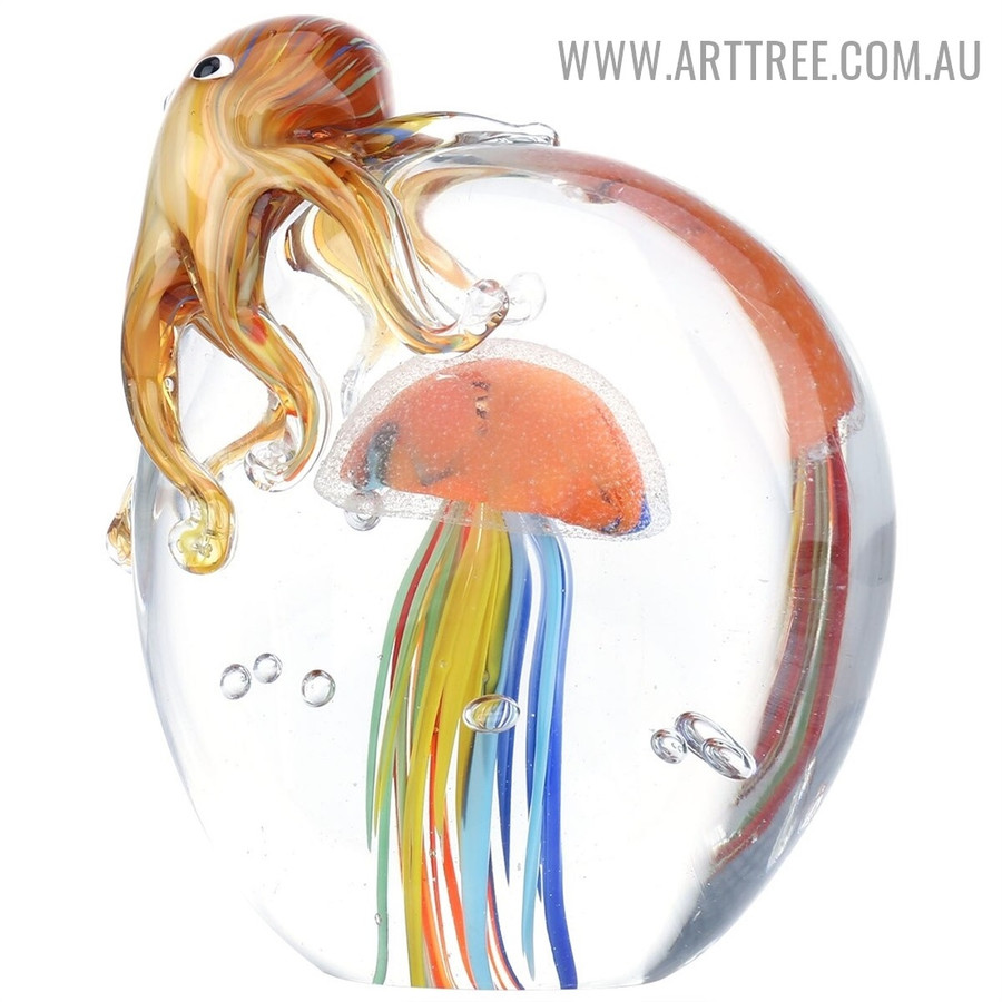 Octopus and Jellyfish Water Animal Glass Sculpture for Sale in Australia
