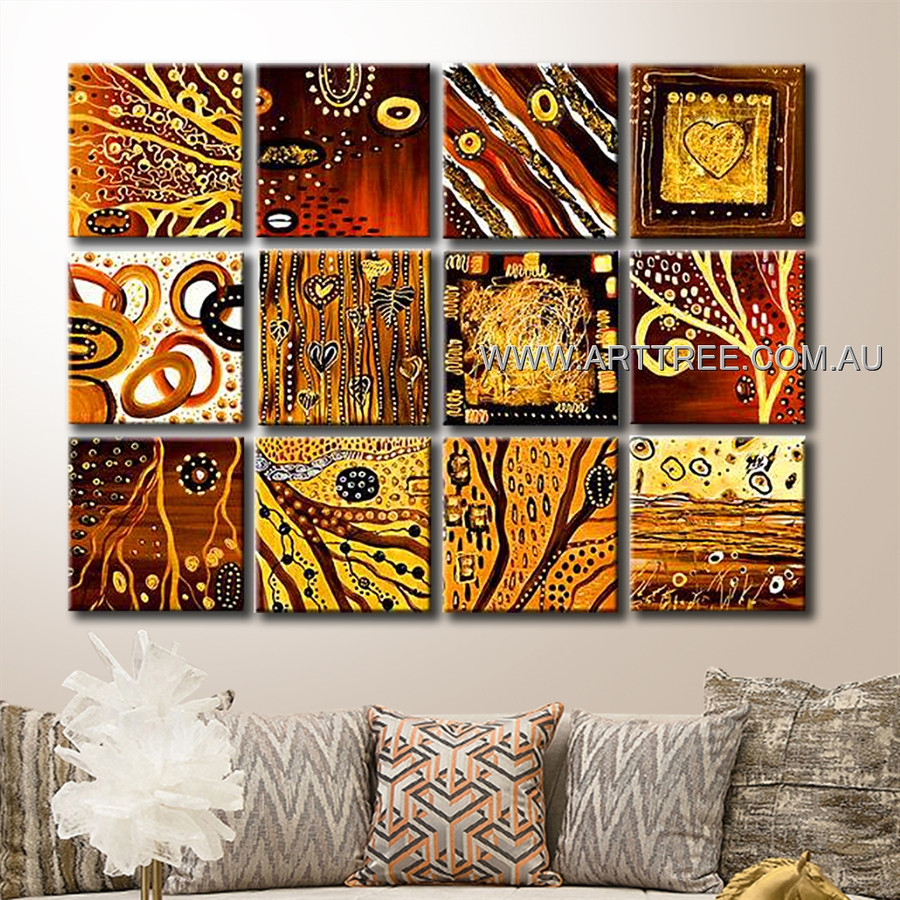 Tree Branch Design Canvas 12 Panel Abstract Handmade Artist Multi Panel Wall Painting Set For Room Moulding