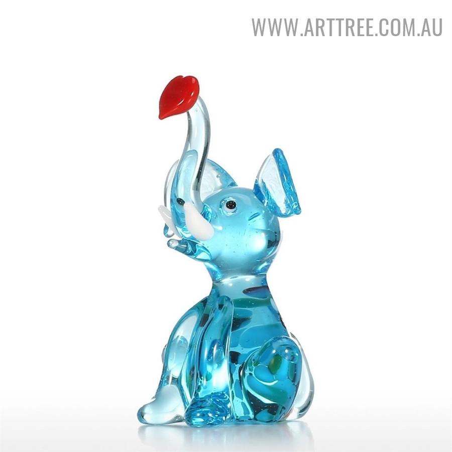Little Elephant Animal Figurines Miniature Glass Sculpture For Sale in Australia