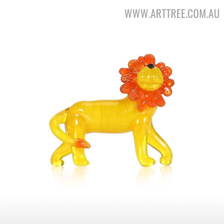 Little Lion Animal Figurine Miniature Glass Statue