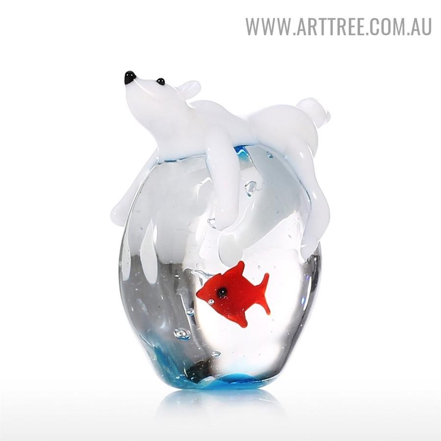 Polar Bear and Fish Handmade Figurine Miniature Glass Animal Statue for Home