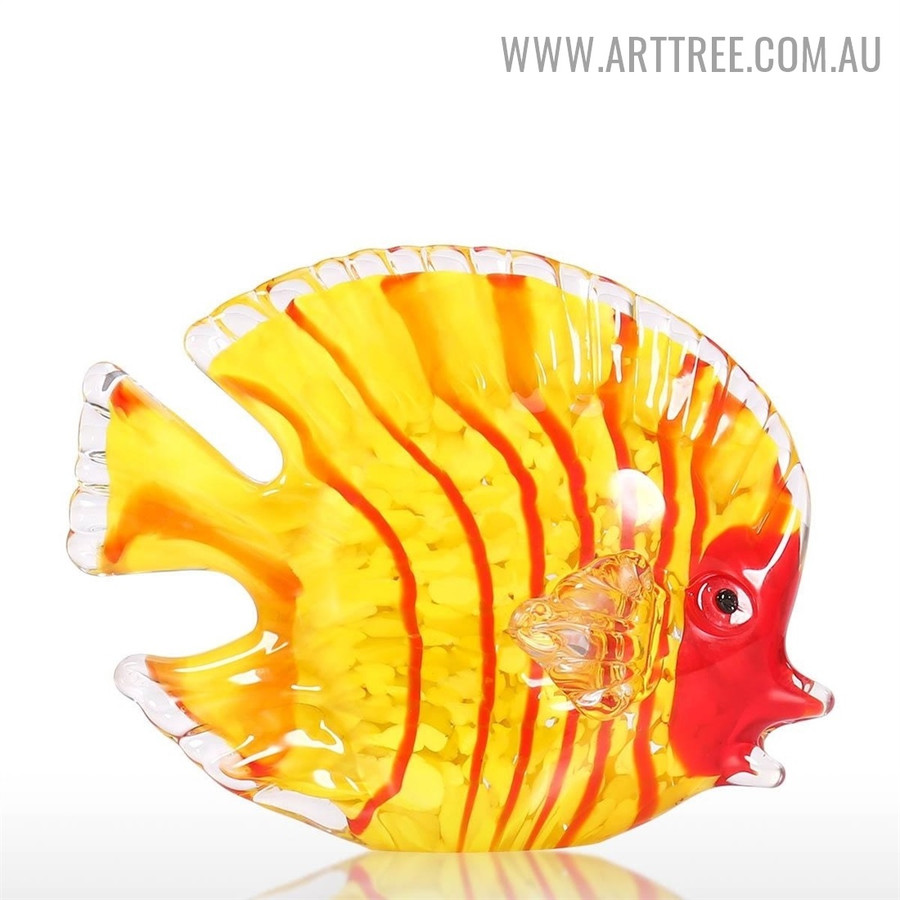 Multicolor Fish Animal Figurine Glass Statue for Sale