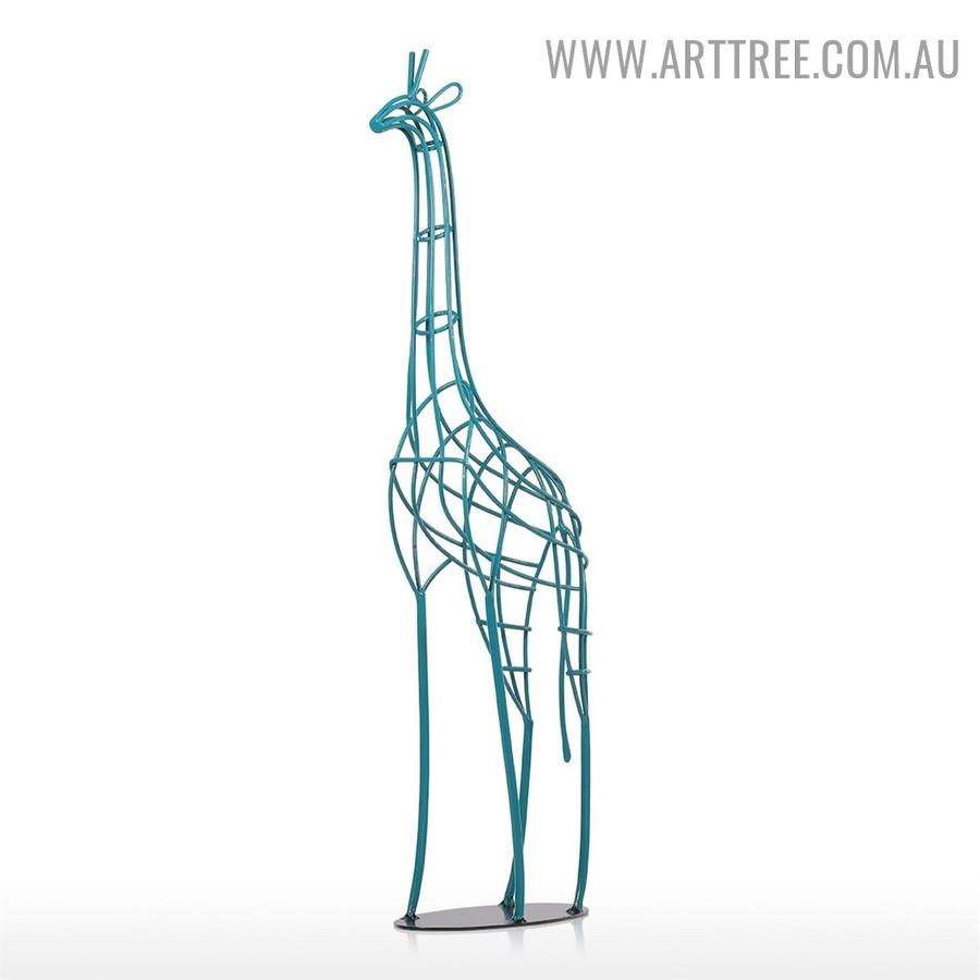 Giraffe Animal Figurine Iron Statue