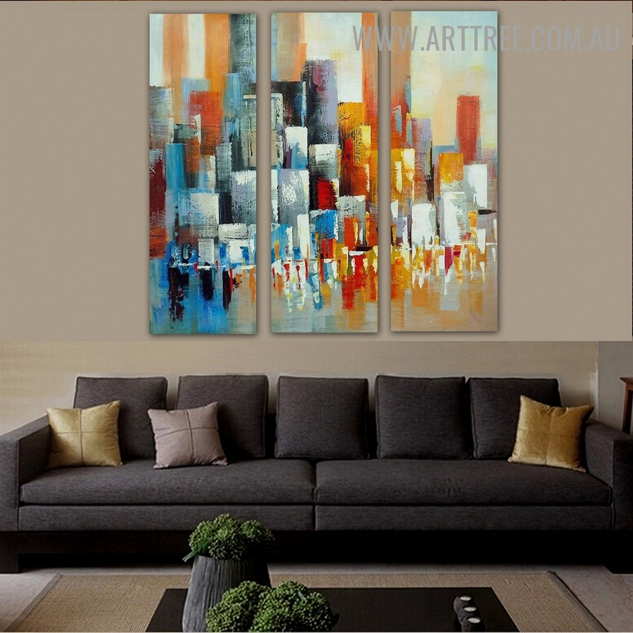 Multicolor Boxes Abstract Knife Handmade 3 Piece Multi Panel Canvas Oil Painting Wall Art Set for Room Wall Garniture