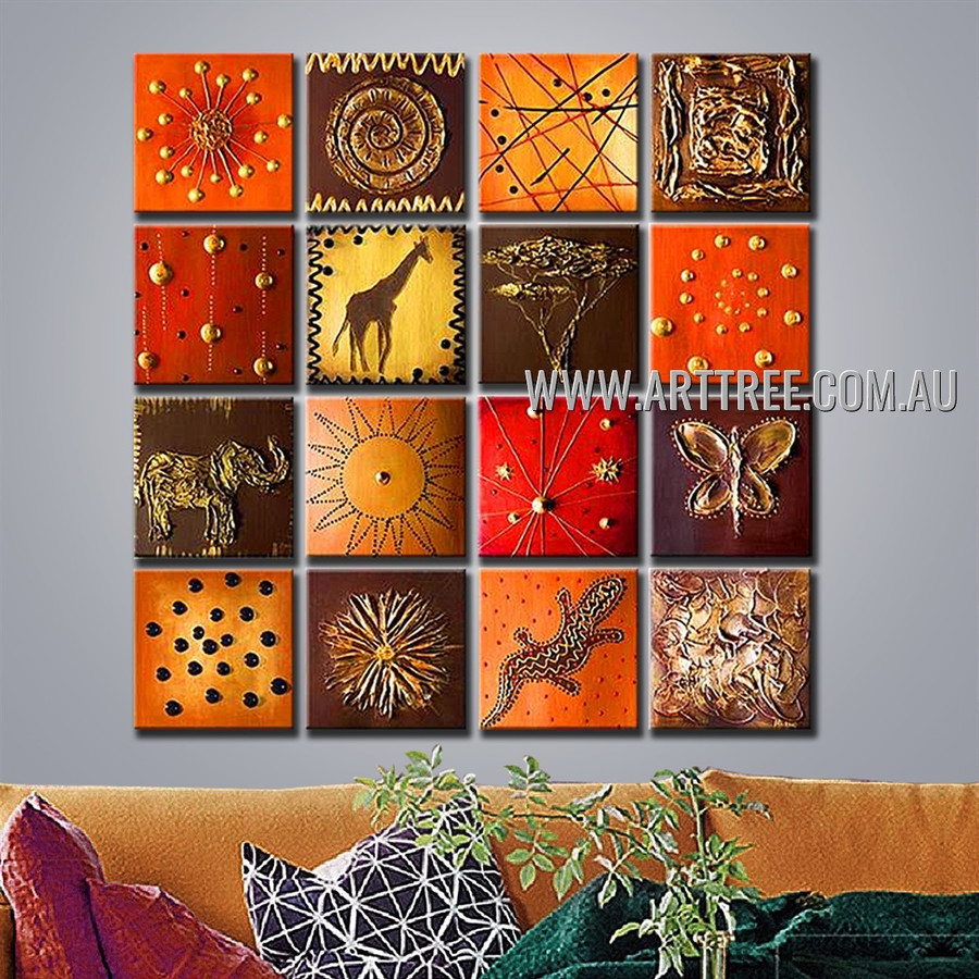 Animals Pattern Oil Painting 16 Panel Handmade Artist Split Panel Painting Wall Art Set For Room Outfit
