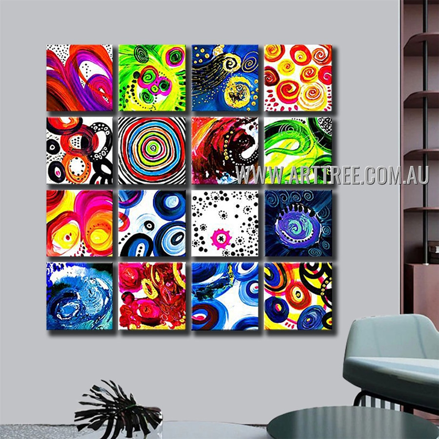 Multicolored Round Pattern Art 16 Panel Abstract Handmade Artist Multi Panel Canvas Oil Painting Wall Art Set For Room Decor