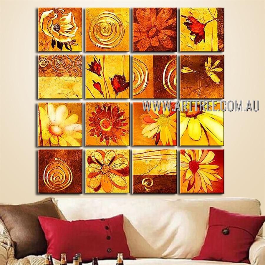 Sunflower Design Oil Painting 16 Panel Abstract Handmade Artist Multi Panel Canvas Oil Painting Wall Art Set For Room Onlay