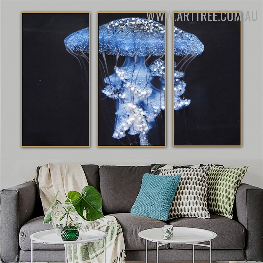 Glossy Jellyfish Water Animal Heavy Texture Artist Handmade 3 Piece Multi Panel Oil Painting Wall Art Set for Wall Trimming