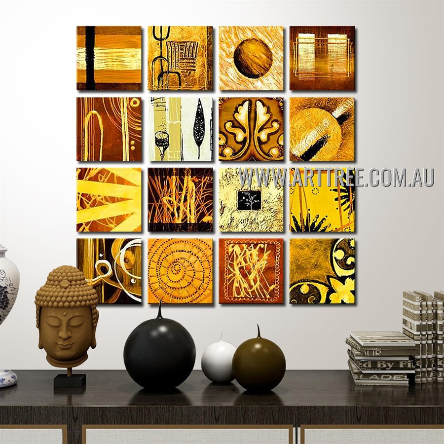 Brown Split Canvas Painting 16 Panel Abstract Handmade Artist Multi Panel Painting Wall Art Set For Room Getup