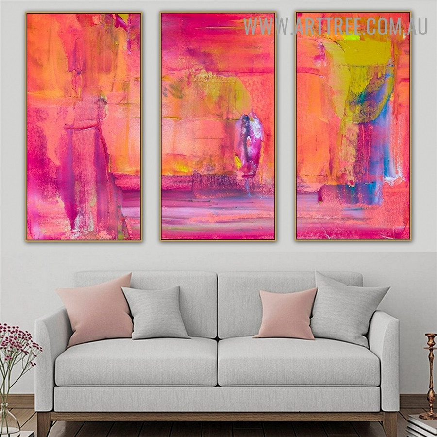 Admixture Color Abstract Acrylic Heavy Texture Artist Handmade 3 Piece Split Oil Painting Set For Room Decoration