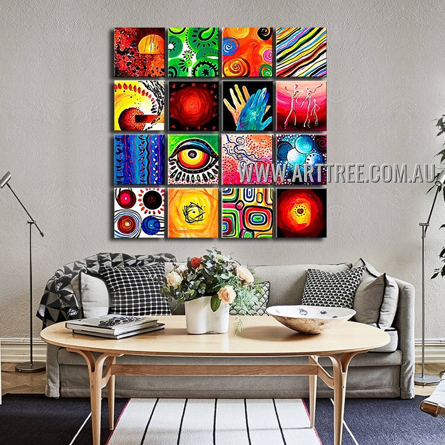 Colorful Eye & Hands Artwork 16 Panel Abstract Handmade Artist Multi Panel Canvas Oil Painting Wall Art Set For Room Garnish