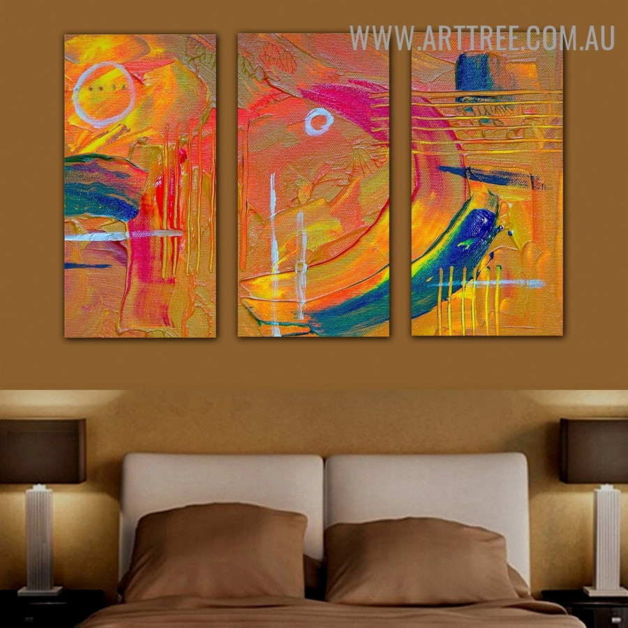 Motley Lines Abstract Heavy Texture Handmade 3 Piece Split Complementary Painting Art Set For Room Outfit