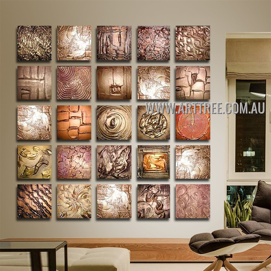 Multipanel Textured Artwork 25 Panel Abstract Handmade Artist Multi Panel Oil Paintings Wall Art Set For Room Adornment