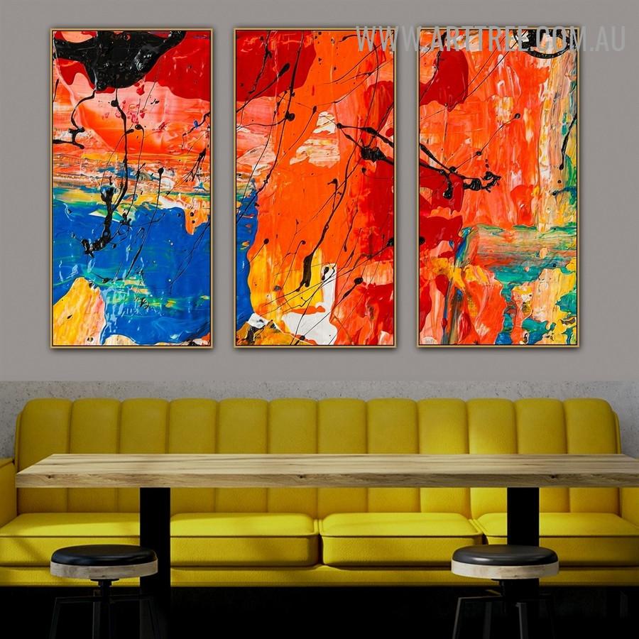 Amalgam Color Abstract Modern Heavy Texture Handmade 3 Piece Split Panel Painting Wall Art Set For Room Decoration