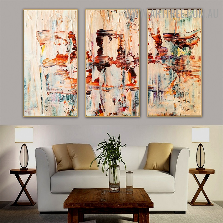 Macaronic Color Abstract Modern Heavy Texture Handmade 3 Piece Split Panel Painting Wall Art Set For Room Decoration