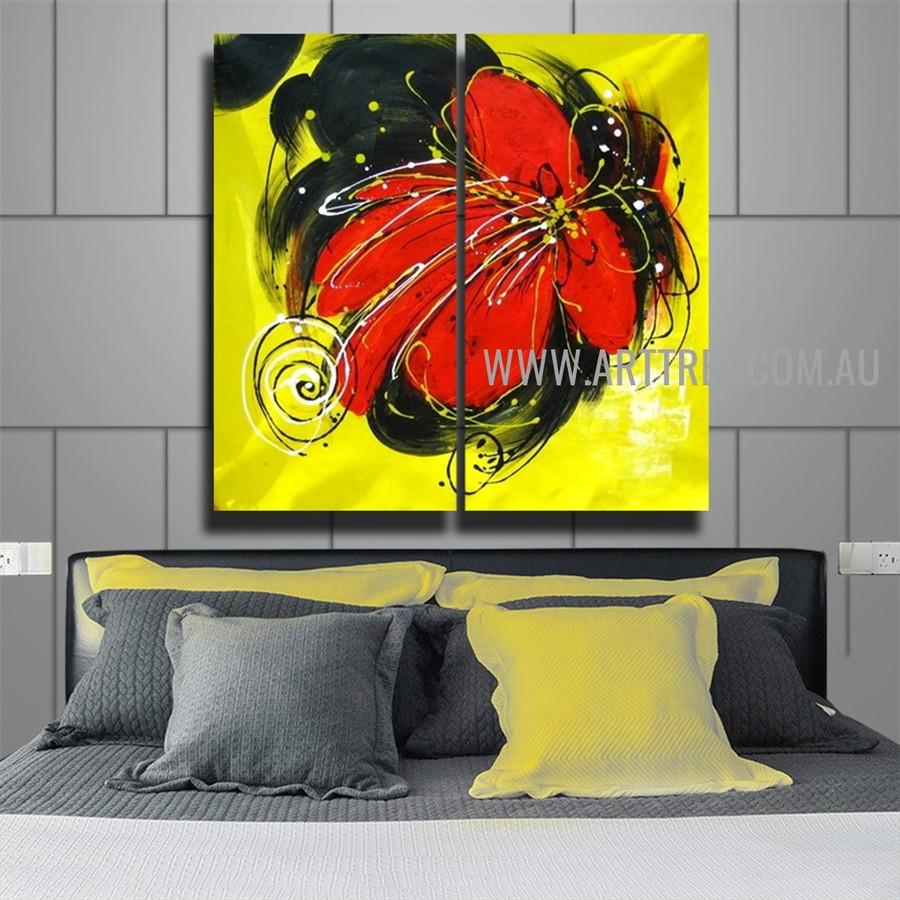 Red Flower Botanical Artist Handmade 2 Piece Split Canvas Art Set For Room Getup