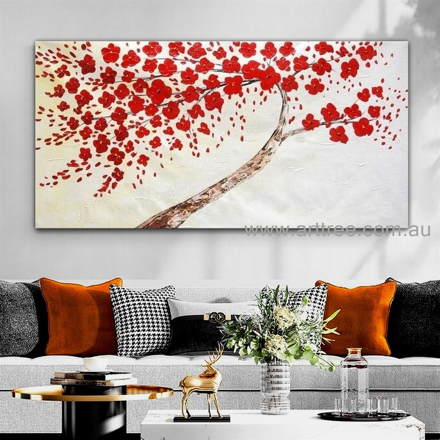 Red Flowerage Botanical Handmade Artist Modern Abstract Palette Knife Acrylic Flower Painting for Room Decoration