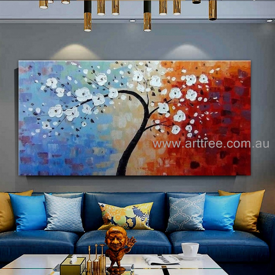 White Flower Tree Abstract Botanical Modern Artist Handmade Heavy Textured Palette Knife Floral Wall Art For Room Wall Décor