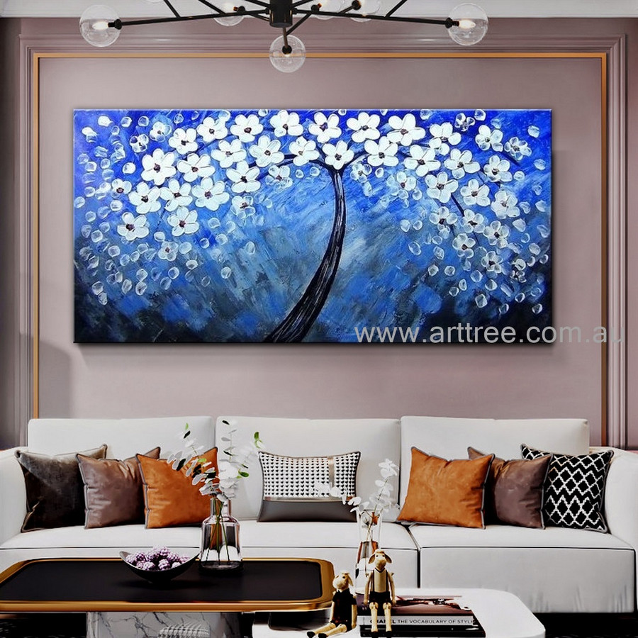 White Floweret Arbor Floral Modern Artist Handmade Heavy Textured Palette Knife Abstract Flower Painting For Room Wall Getup