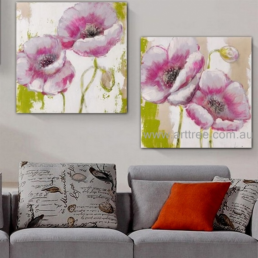 Pink Poppies Floral Contemporary Artist Handmade Heavy Texture Abstract 2 Piece Flower Wall Art Set for Room Tracery
