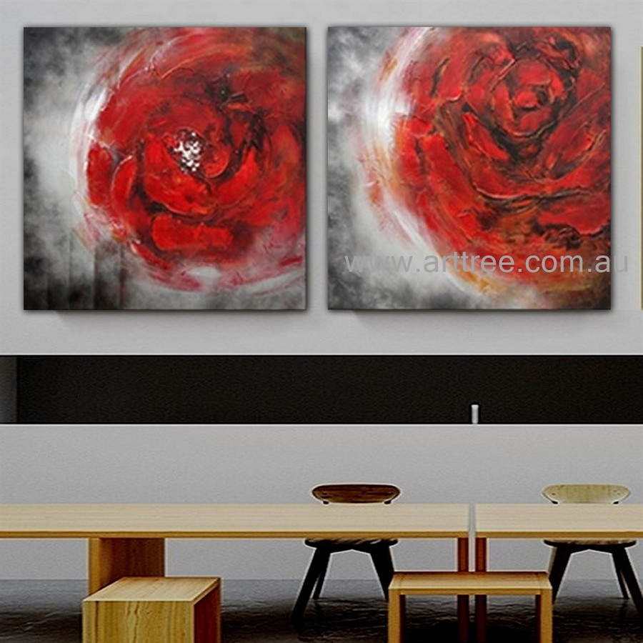 Red Flowers Floral Heavy Texture Artist Handmade 2 Piece Acrylic Modern Abstract Painting Wall Art Set For Room Moulding