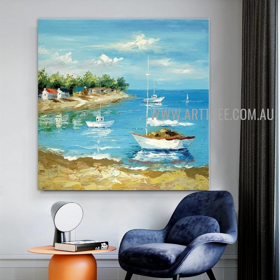 Offing Seascape Heavy Texture Artist Handmade Acrylic Scenery Painting For Room Wall Finery