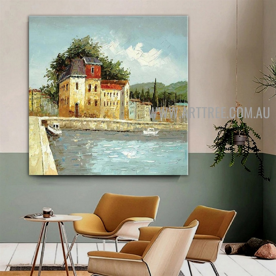 White Prows Cityscape Artist Handmade Acrylic Landscape Art For Room Wall Trimming