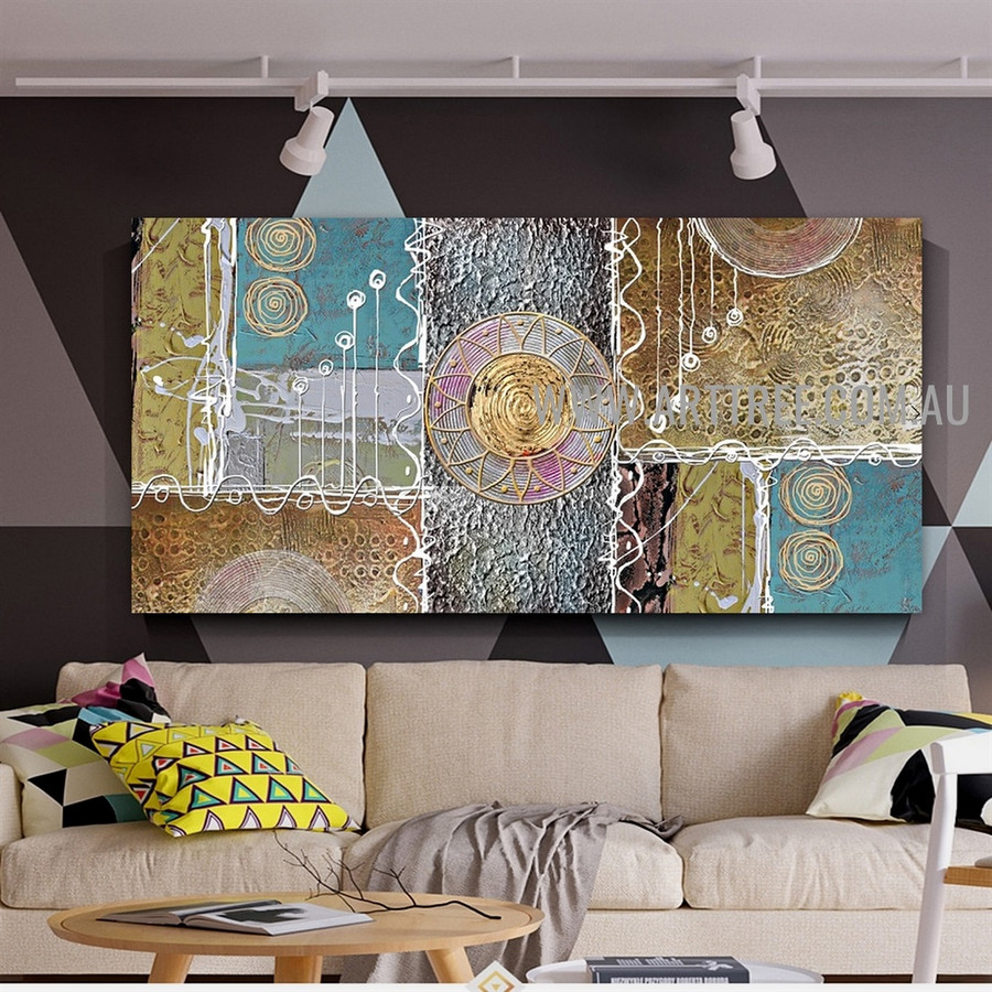 Tortuous Streaks Geometric Artist Handmade Heavy Texture Framed Acrylic Abstract Contemporary Art Painting For Room Wall Disposition